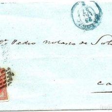 Sellos: ENVUELTA CIRCULADA DE MÁLAGA A CÁDIZ - SELLO CUATRO CUARTOS AÑO 1857. Lote 77605637