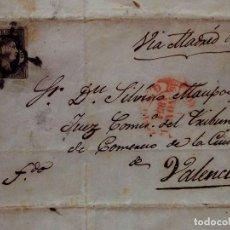 Sellos: CARTA CIRCULADA, PONTEVEDRA VALENCIA, SELLO REINADO ISABEL II, 6 CUARTOS, SIN DENTAR, 1851. Lote 80832067