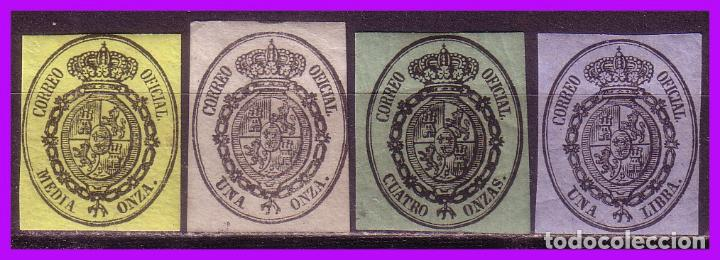 1855 ESCUDO DE ESPAÑA, EDIFIL Nº 35 A 38 * SERIE COMPLETA (Sellos - España - Isabel II de 1.850 a 1.869 - Nuevos)