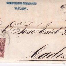 Sellos: F21-47-CARTA COMPLETA HERNÁNDEZ HERMANOS MÁLAGA-CADIZ 1863.INTERESANTE NOTA COTIZACIONES . Lote 84597304