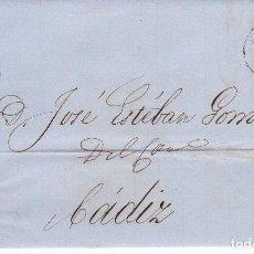 Selos: F21-63-CARTA COMPLETA SEVILLA-CADIZ 1864. ETIQUETA CIERRE F.MARTINEZ. Lote 84706804