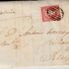 Sellos: CARTA ENTERA DE LOGROÑO 1857 SELLO NUM.48 CON MATASELLOS DE PARRILLA Y FECHADOR NEGRO. Lote 86728372