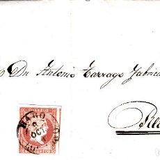 Sellos: CARTA ENTERA DE HARO LOGROÑO 1857 SELLO NUM.48 CON MATASELLOS FECHADOR NEGRO. Lote 86728788