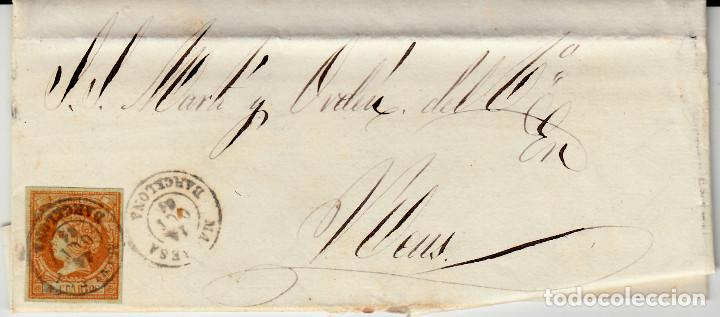 CARTA ENTERA DE MANRESA -BARCELONA - A REUS -1861 SELLO NUM. 52 (Sellos - España - Isabel II de 1.850 a 1.869 - Cartas)