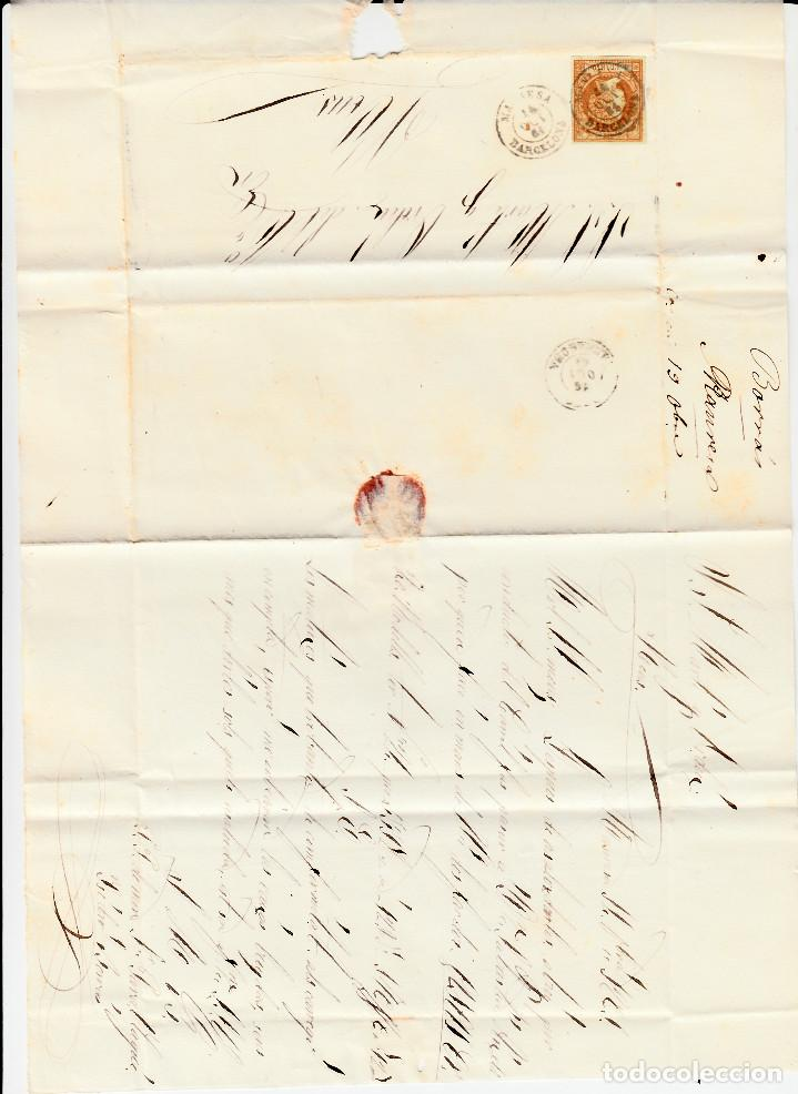 Sellos: CARTA ENTERA DE MANRESA -BARCELONA - A REUS -1861 SELLO NUM. 52 - Foto 2 - 87141460