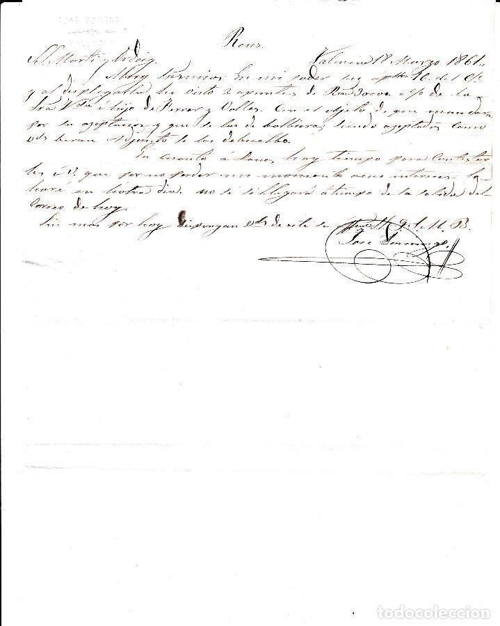 Sellos: CARTA ENTERA DE JOSE DOMINGO DE VALENCIA -1861 SELLO NUM. 52 RUEDA DE CARRETA 8 - Foto 3 - 87141744