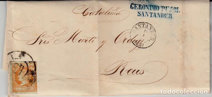 CARTA ENTERA DE JERÓNIMO PUJOL EN SANTANDER -1861 SELLO NUM. 52 RUEDA DE CARRETA 43 (Sellos - España - Isabel II de 1.850 a 1.869 - Cartas)