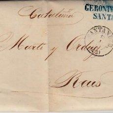 Sellos: CARTA ENTERA DE JERÓNIMO PUJOL EN SANTANDER -1861 SELLO NUM. 52 RUEDA DE CARRETA 43. Lote 87142408
