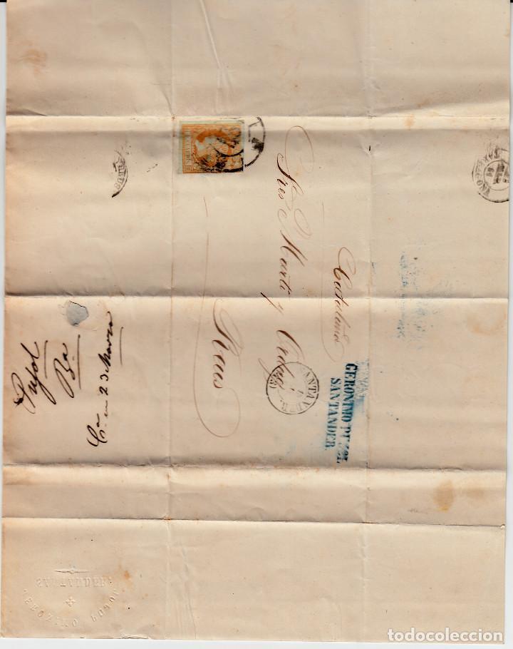 Sellos: CARTA ENTERA DE JERÓNIMO PUJOL EN SANTANDER -1861 SELLO NUM. 52 RUEDA DE CARRETA 43 - Foto 2 - 87142408