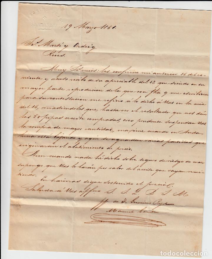 Sellos: CARTA ENTERA DE JERÓNIMO PUJOL EN SANTANDER -1861 SELLO NUM. 52 RUEDA DE CARRETA 43 - Foto 3 - 87142408