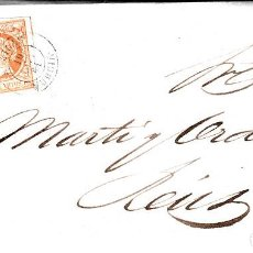 Sellos: CARTA ENTERA DE AGUILAS -MURCIA- A REUS -1861 CON SELLO NUM. 52 CON FECHADOR. Lote 87142872