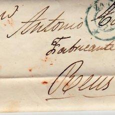 Sellos: CARTA ENTERA DE ZARAGOZA CON SELLO NUM 48 Y MATASELLOS PARRILLA Y FECHADOR AZUL AÑO 1857. Lote 87654704