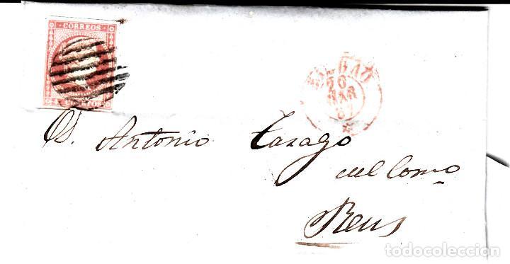 CARTA COMPLETA DE BILBAO CON MATASELLOS PARRILLA Y MATASELLOS COLOR ROJO AÑO 1857 (Sellos - España - Isabel II de 1.850 a 1.869 - Cartas)
