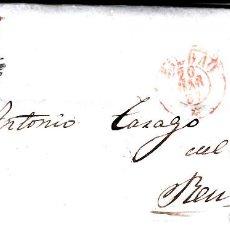 Sellos: CARTA COMPLETA DE BILBAO CON MATASELLOS PARRILLA Y MATASELLOS COLOR ROJO AÑO 1857. Lote 87657424