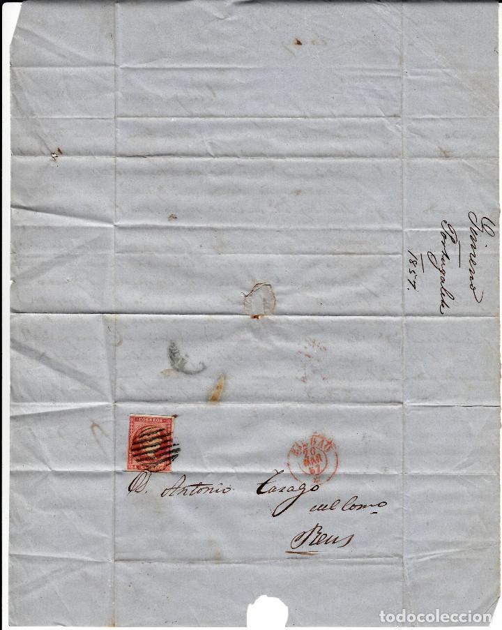 Sellos: CARTA COMPLETA DE BILBAO CON MATASELLOS PARRILLA Y MATASELLOS COLOR ROJO AÑO 1857 - Foto 2 - 87657424