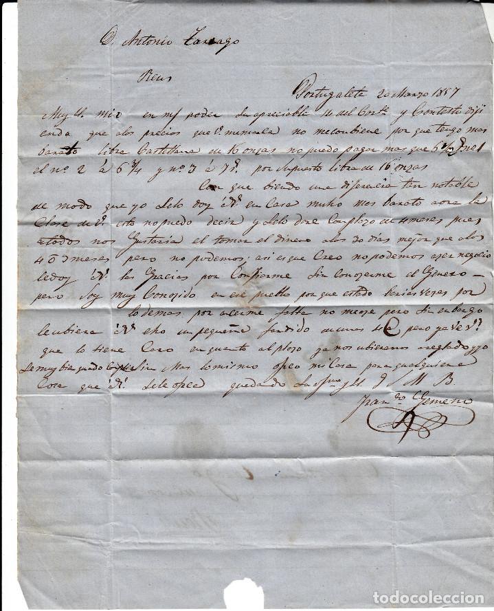Sellos: CARTA COMPLETA DE BILBAO CON MATASELLOS PARRILLA Y MATASELLOS COLOR ROJO AÑO 1857 - Foto 3 - 87657424