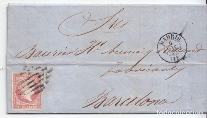 CARTA ENTERA 1857. 4 CUARTOS ROJO. PARRILLA DE MADRID Y FECHADOR. (Sellos - España - Isabel II de 1.850 a 1.869 - Cartas)