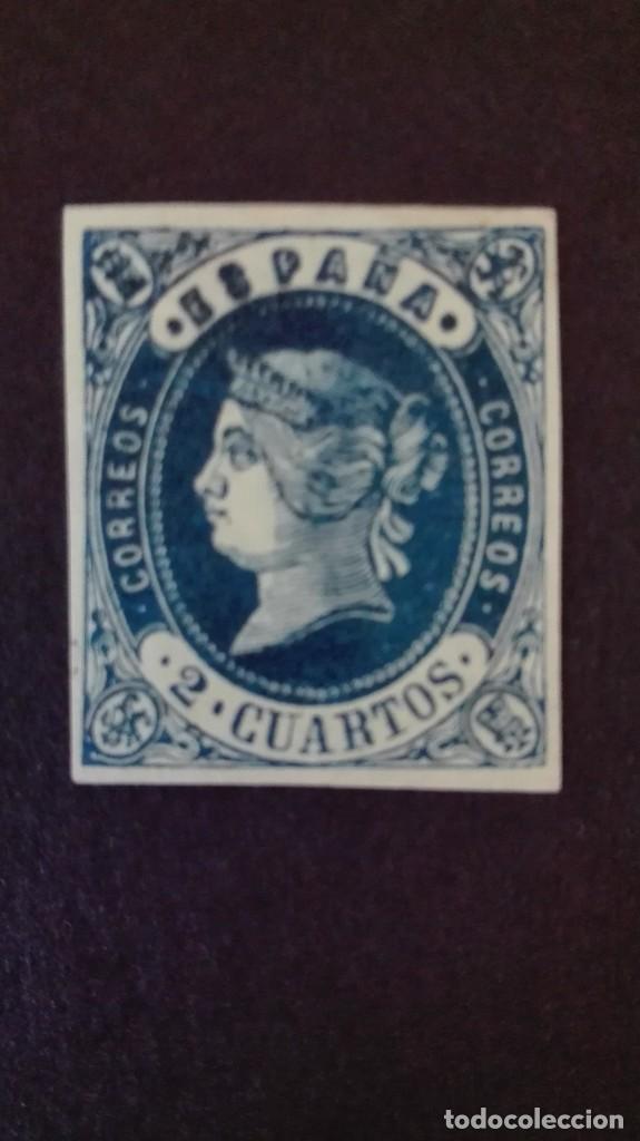 EDIFIL 57 NUEVO CON FIJASELLOS AÑO 1862 - 2 CUARTOS AZUL AMARILLO. PRECIOSO COLOR. LUJO (Sellos - España - Isabel II de 1.850 a 1.869 - Usados)