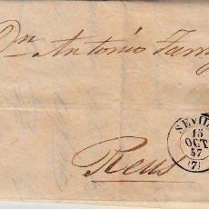 Sellos: CARTA ENTERA DE SEVILLA CON MATASELLOS REJILLA AÑO 1857 CON DESTINO REUS. Lote 90817215