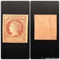 Sellos: ESPAÑA.AÑO 1860.ISABEL II 19 CUARTOS CASTAÑO S/SALMON.. Lote 91962635