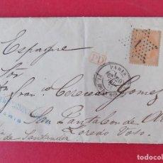 Sellos: ENVUELTA CARTA COMPLETA - 1872 DE PARIS A SAN PANTALEON DE ARAS, LAREDO, SANTANDER ... R-6641. Lote 93562880