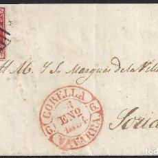 Sellos: 1852. CUBIERTA DE CARTA DIRIGIDA DE CORELLA A SORIA. CORREO POR ÁGREDA.. Lote 95872471
