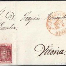 Sellos: 1854. CARTA DE LOGROÑO A VITORIA.. Lote 95872551