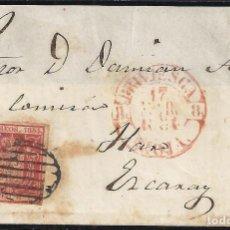 Sellos: 1854. CARTA DIRIGIDA DE BRIVIESCA A EZCARAY, POR HARO.. Lote 95872899