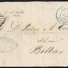 Sellos: 1854. CUBIERTA DIRIGIDA DE IRÚN A BILBAO.. Lote 95873383