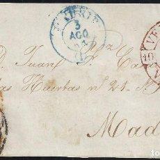 Sellos: 1854. FRENTE DE CARTA DIRIGIDA DE VERGARA A MADRID. CORREO POR VITORIA Y BURGOS.. Lote 95873607