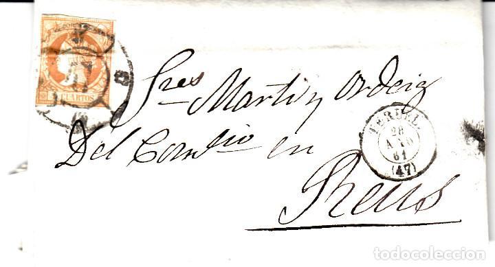 CARTA ENTERA DE TERUEL A REUS -1861 SELLO NUM. 52 RUEDA DE CARRETA 47 Y FECH.TERUEL,REUS (Sellos - España - Isabel II de 1.850 a 1.869 - Cartas)