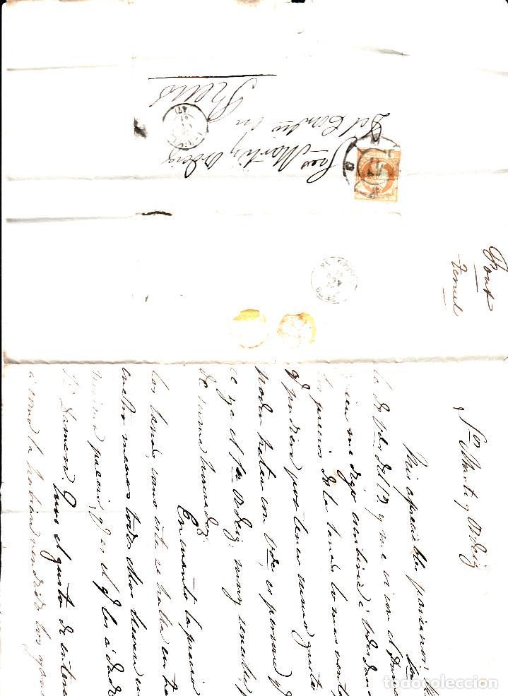 Sellos: CARTA ENTERA DE TERUEL A REUS -1861 SELLO NUM. 52 RUEDA DE CARRETA 47 Y FECH.TERUEL,REUS - Foto 2 - 96796663