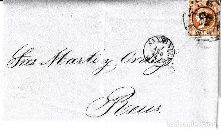 CARTA ENTERA DE REVISTA COMERCIAL DE SANTANDER CON SELLO NUM 52 RUEDA DE CARRETA 43 Y FECHADORES (Sellos - España - Isabel II de 1.850 a 1.869 - Cartas)