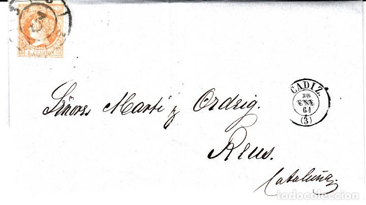 CARTA ENTERA DE F.RUDOLPH EN CADIZ A REUS 1861 CON SELLO NUM 52 RUEDA DE CARRETA 3 (Sellos - España - Isabel II de 1.850 a 1.869 - Cartas)