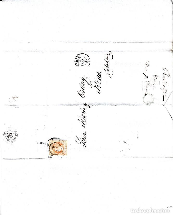 Sellos: CARTA ENTERA DE F.RUDOLPH EN CADIZ A REUS 1861 CON SELLO NUM 52 RUEDA DE CARRETA 3 - Foto 2 - 96798507