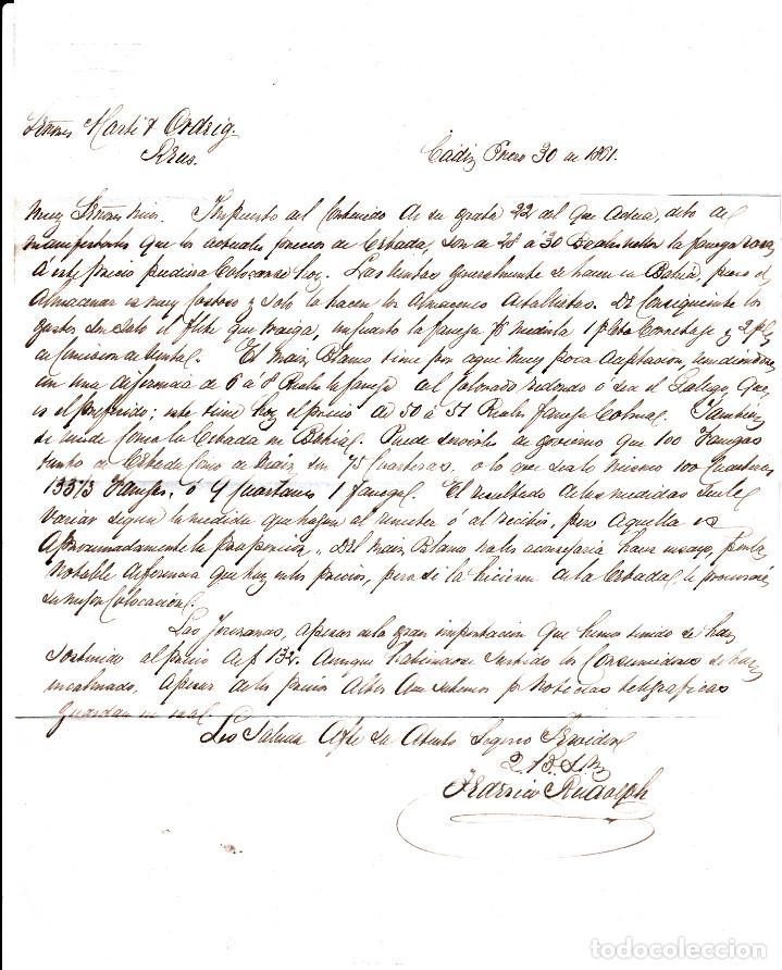 Sellos: CARTA ENTERA DE F.RUDOLPH EN CADIZ A REUS 1861 CON SELLO NUM 52 RUEDA DE CARRETA 3 - Foto 3 - 96798507