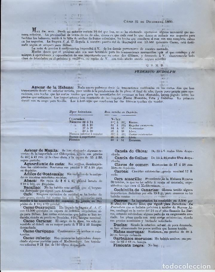 Sellos: CARTA ENTERA CON PRECIOS DE CADIZ A REUS 1860 CON SELLO NUM 52 RUEDA DE CARRETA 3 - Foto 3 - 96800407