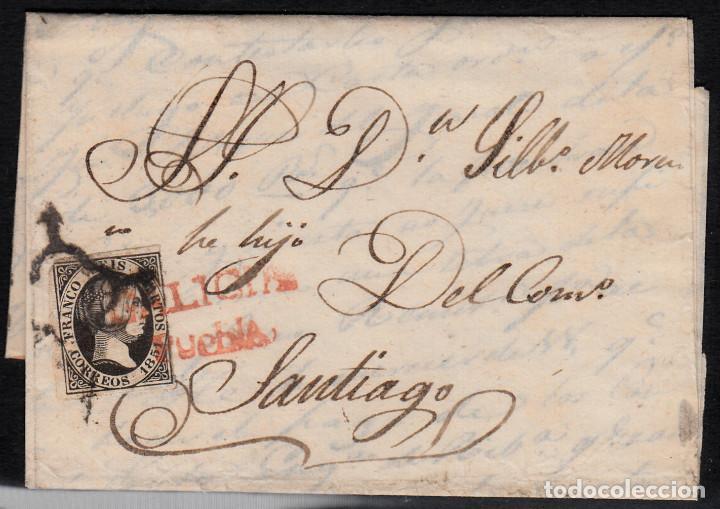 CARTA ENTERA CON NUM.6 MATASELLOS ARAÑA EN NEGRO Y MARCA GALICIA-PUEBLA EN ROJO SOBRE EL SELLO-RARO- (Sellos - España - Isabel II de 1.850 a 1.869 - Cartas)