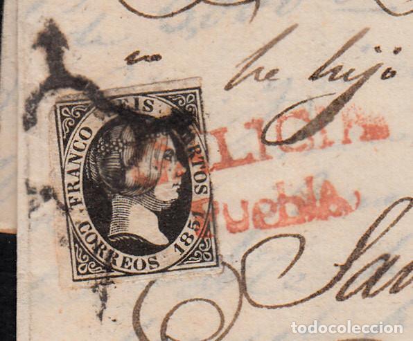 Sellos: CARTA ENTERA CON NUM.6 MATASELLOS ARAÑA EN NEGRO Y MARCA GALICIA-PUEBLA EN ROJO SOBRE EL SELLO-RARO- - Foto 2 - 97208327