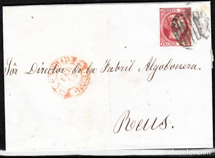 CARTA ENTERA CON NUM.17 DE MADRID CON PARRILLA NEGRO Y BAEZA REDUCIDO COLOR NARANJA (Sellos - España - Isabel II de 1.850 a 1.869 - Cartas)