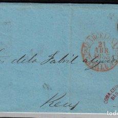 Sellos: CARTA ENTERA CON NUM. 17 DE BARCELONA (1853) A REUS CON MATASELLOS PARRILLA NEGRO Y BAEZA ROJO. Lote 97214447