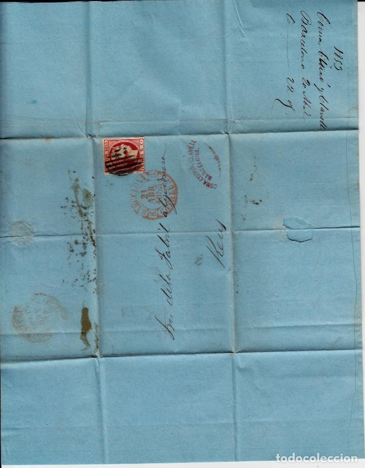 Sellos: CARTA ENTERA CON NUM. 17 DE BARCELONA (1853) A REUS CON MATASELLOS PARRILLA NEGRO Y BAEZA ROJO - Foto 2 - 97214447