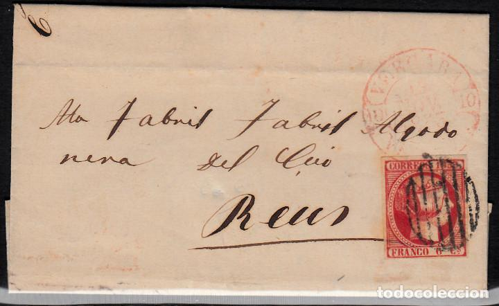 CARTA ENTERA CON NUM. 17 DE VERGARA -BERGARA (1853) CON MATASELLOS PARRILLA NEGRO Y BAEZA ROJO (Sellos - España - Isabel II de 1.850 a 1.869 - Cartas)