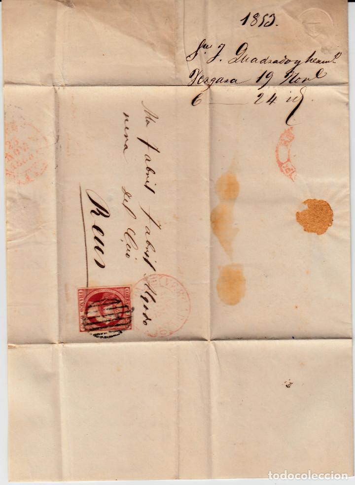 Sellos: CARTA ENTERA CON NUM. 17 DE VERGARA -BERGARA (1853) CON MATASELLOS PARRILLA NEGRO Y BAEZA ROJO - Foto 2 - 97215371