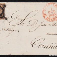 Sellos: ENVUELTA CON NUM. 6 DE SANTIAGO (1851) CON MATASELLOS ARAÑA NEGRO Y BAEZA ROJO. Lote 97217359