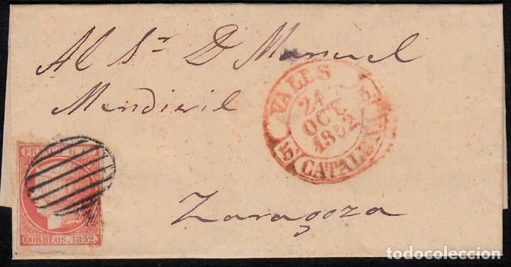 CARTA ENTERA CON NUM. 12 DE VALLS (1852) DESTINO ZARAGOZA CON MATASELLOS PARRILLA Y BAEZA EN ROJO (Sellos - España - Isabel II de 1.850 a 1.869 - Cartas)