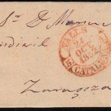 Sellos: CARTA ENTERA CON NUM. 12 DE VALLS (1852) DESTINO ZARAGOZA CON MATASELLOS PARRILLA Y BAEZA EN ROJO. Lote 97219111