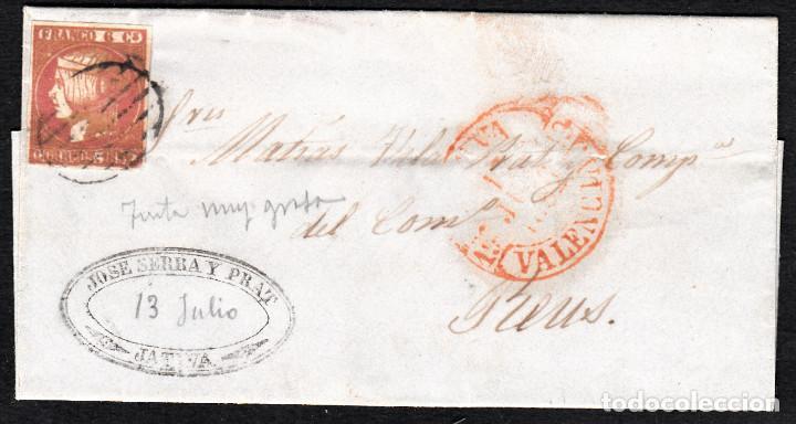 CARTA ENTERA CON NUM. 12 -TINTA GRUESA -DE JATIVA (1852) CON MATASELLOS PARRILLA Y BAEZA EN ROJO (Sellos - España - Isabel II de 1.850 a 1.869 - Cartas)