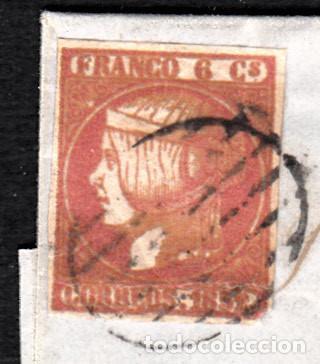 Sellos: CARTA ENTERA CON NUM. 12 -TINTA GRUESA -DE JATIVA (1852) CON MATASELLOS PARRILLA Y BAEZA EN ROJO - Foto 2 - 97219847