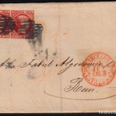 Sellos: CARTA ENTERA CON PAREJA N.. 17 DE BARCELONA (1853) A REUS CON MATASELLOS PARRILLA NEGRO Y BAEZA ROJO. Lote 97220707